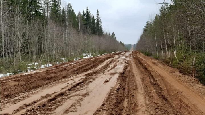 Житель Лешуконья снял на видео автодорогу, превратившуюся в грязь. Машины вытаскивают на буксире