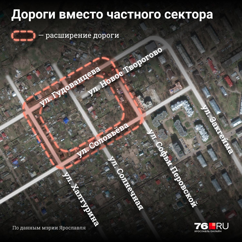 Схематичное изображение планов по расширению улиц