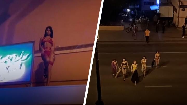 Полуголые модели устроили фотосессию на проезжей части в центре Тюмени. Зачем?