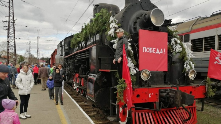 В Пермь в честь Дня Победы приехал ретропоезд