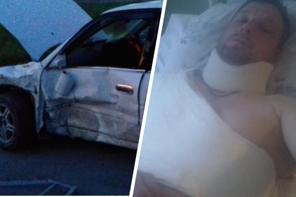 """«Извините за качество фото — телефон в ДТП сломался», — говорит один из пострадавших, Антон. Он ехал на «Тойоте», когда в него врезался <nobr class=""""_"""">32-летний</nobr> мужчина за рулем «Мицубиси-Лансер»"""