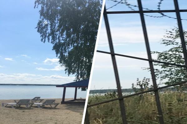 Берег озера Кумкуль сейчас обнесен заборами, пройти к воде можно только за деньги