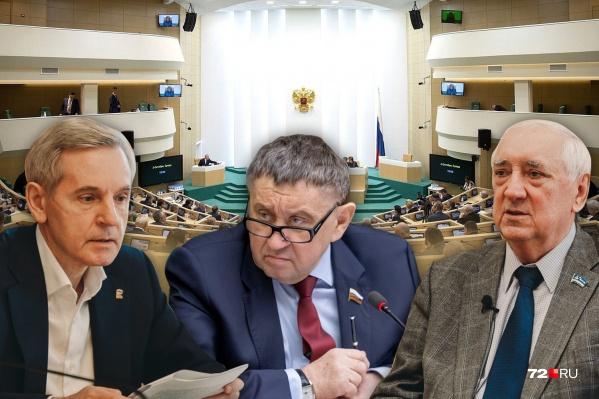В разное время в Совфеде были Андрей Артюхов (слева), ныне он первый зампредседателя Тюменской облдумы, Михаил Пономарев (в центре) и Степан Киричук (справа) — сейчас он депутат Тюменской гордумы<br>