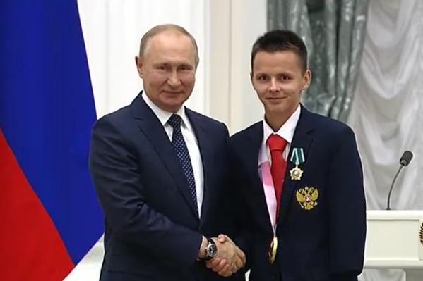 Александр Яремчук в момент награждения в Кремле