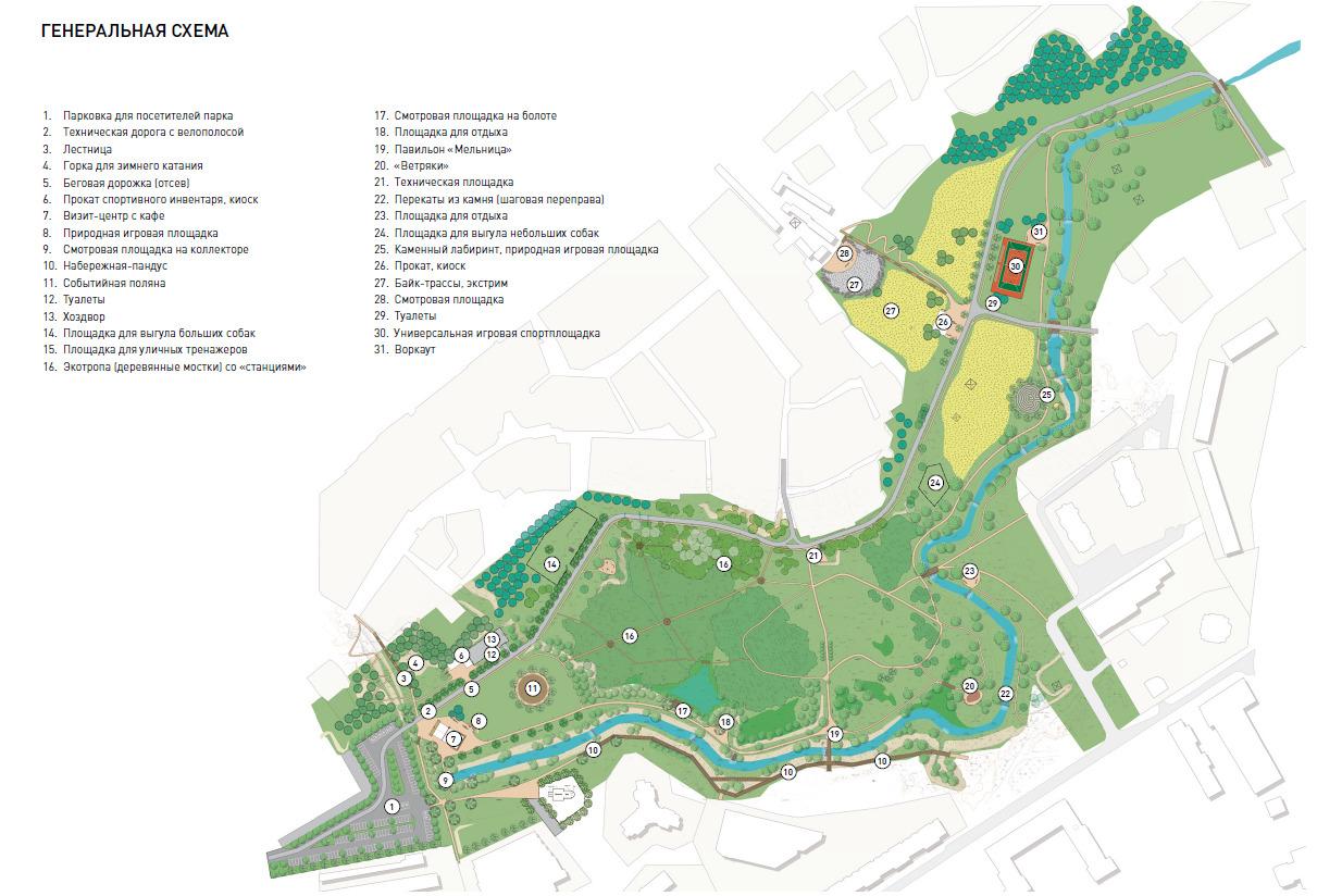 Парк не будет слишком насыщен какими-то объектами, но в нём нашлось место и для павильонов проката, и для игровых природных площадок, и для мест созерцания природы