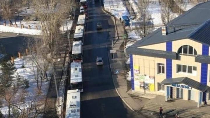 «Неужели так сложно посыпать гору»: в Перми на Вышке-2 из-за гололедицы образовалась пробка из автобусов