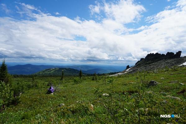 Вид на Шорию с вершины Зеленой горы летом