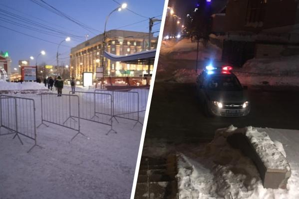 С раннего утра на улице Щетинкина стоят машины полиции, а в Первомайском сквере появились ограждения