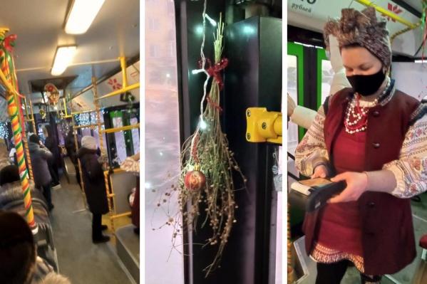 Кондуктор автобуса постаралась создать праздничный антураж к Новому году и Рождеству