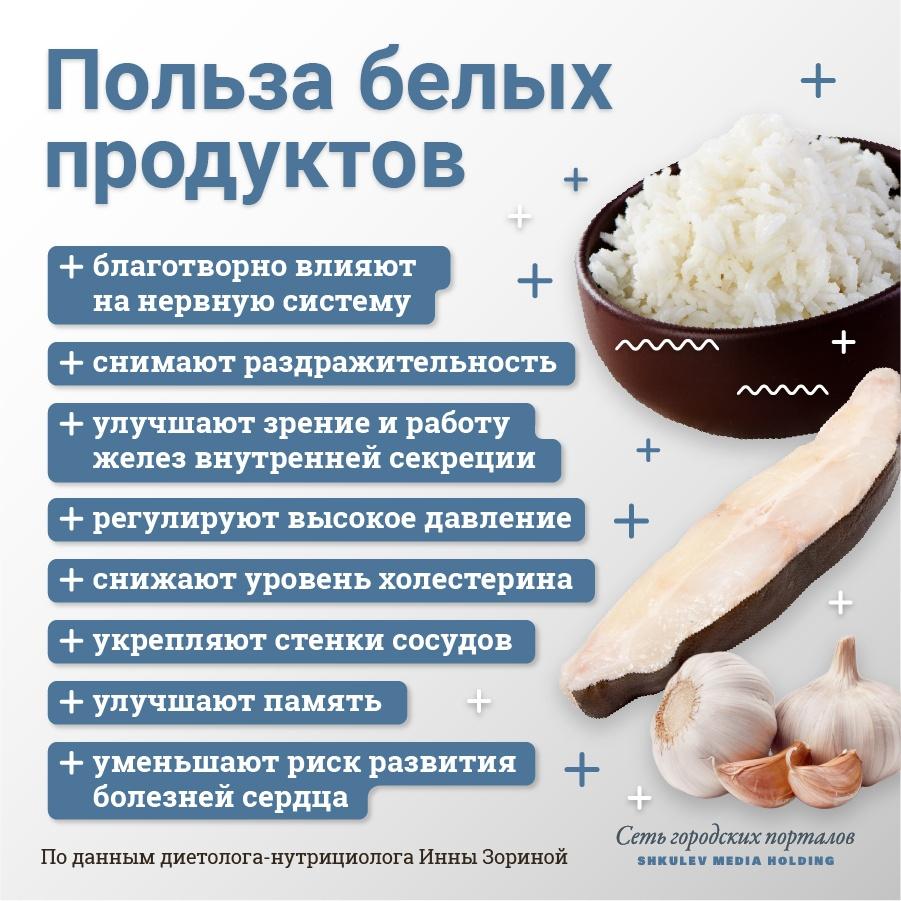Полезные свойства продуктов белого цвета