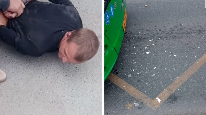 «Его не пустили, он психанул»: в Екатеринбурге задержали дебошира, который разбил зеркало автобуса