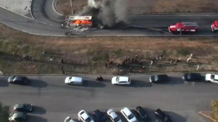 В «Башавтотрансе» прокомментировали пожар автобуса в Уфе