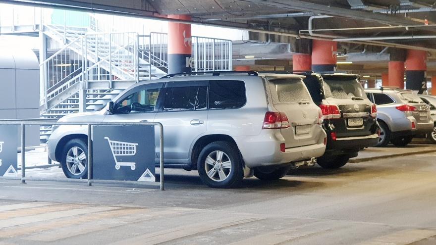 Гении парковки. Смотрим, как два «Лэнд-Крузера» прикинулись тележками на парковке «Леруа Мерлен»