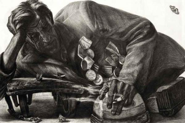 «Отдых в пути». Такмык, Омская область, 1975 год. После выставки серии рисунков «Автографы войны» омский художник стал известен во всем мире<br>