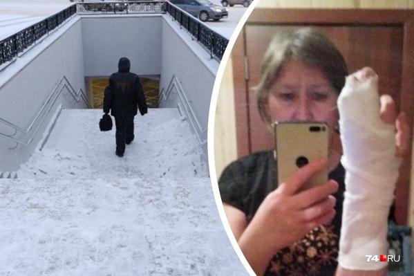 Евгения Коптеева просто хотела перейти на другую сторону улицы, а в итоге сломала палец