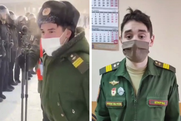 Молодой человек пришел на акцию в военной форме и вел себя очень громко