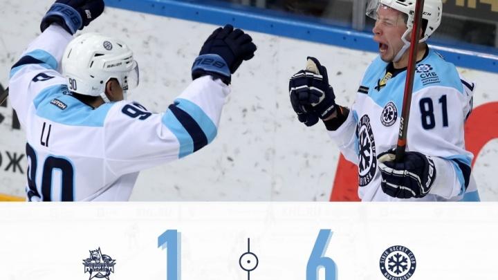 Шесть шайб закинула хоккейная «Сибирь» в ворота пекинского «Куньлуня» в Подмосковье