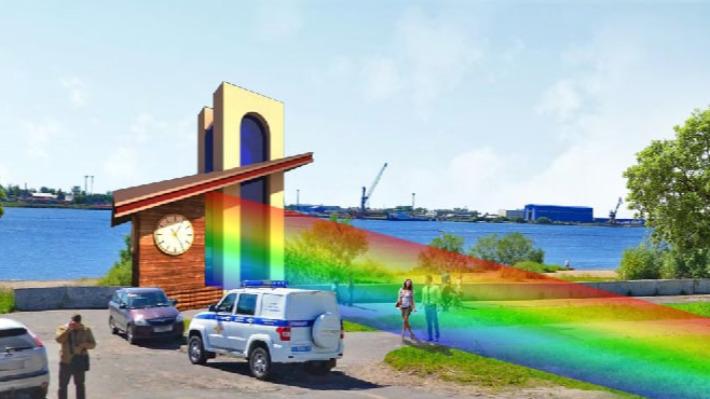 Аспирант САФУ из Сирии предложил установить в Архангельске радужные часы с лазером