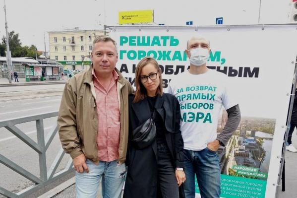 Алексей Гресько (справа на фото) со своими предшественниками на посту руководителя штаба Навального Виктором Барминым и Ириной Норман