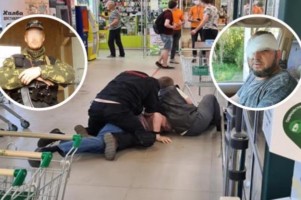 Слева — покупатель, применивший оружие. Справа — получивший травму глаза охранник