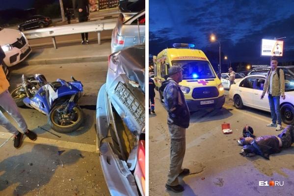 """В аварии пострадал <nobr class=""""_"""">40-летний</nobr> водитель мотоцикла Yamaha"""