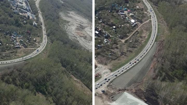 Новосибирцы встали в 10-километровую пробку на подъезде к городу — видео вереницы машин с высоты
