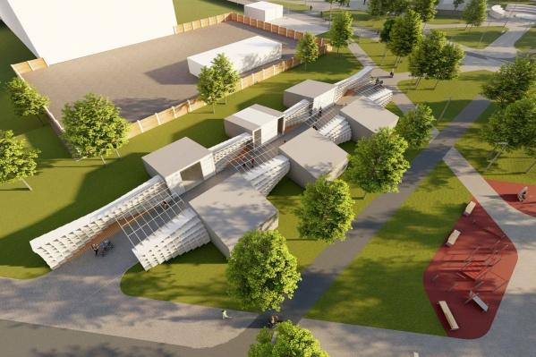 Эта часть парка по проекту называется «Зона павильонов»