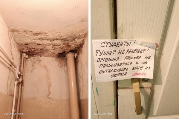 """Эти фотографии <a href=""""https://29.ru/text/education/2021/03/20/69822035/"""" target=""""_blank"""" class=""""_"""">из общежития 18 марта показал депутат облсобрания</a>. Он тоже обращался в региональное Минобразования с вопросом о ремонте"""