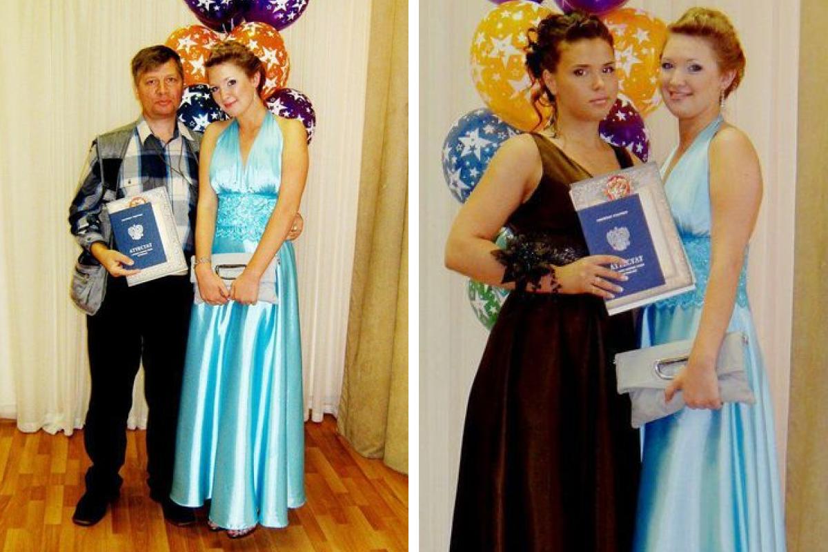 На фото слева Анна со своим отцом, на фото справа — с одноклассницей Валерией