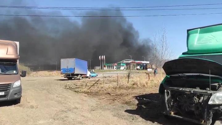 В Ярославле черным дымом загорелось поле с травой возле заправки