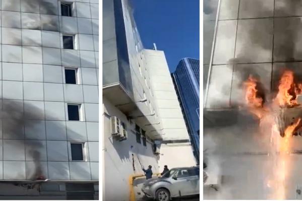 Судя по этим фото, огонь занялся где-то под стенами здания