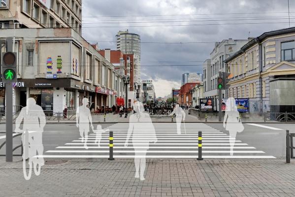 Наземный переход на улице Малышева по Вайнера позволит комфортно переходить дорогу маломобильным гражданам, уверены активисты