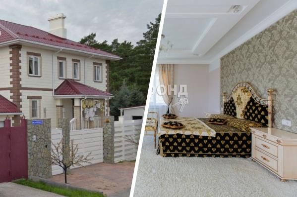 Роскошный домик скрылся среди голубых елей в закрытом поселке Приобский