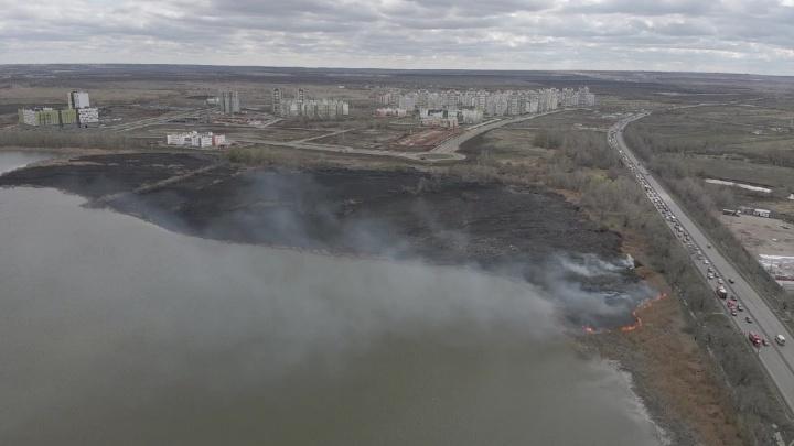 Огромное выжженное поле: под Самарой горели берега озера Яицкого