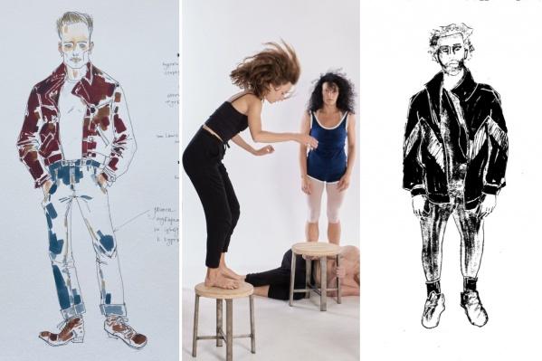 О многих премьерах этого сезона мы можем судить пока только по эскизам художников и фото с репетиций. Слева — набросок к мюзиклу «Три товарища», справа — современный Раскольников (в нем угадывается образ актера Театра-Театра Марата Мударисова). А в центре — репетиция балета «Головокружение» в Театре Евгения Панфилова