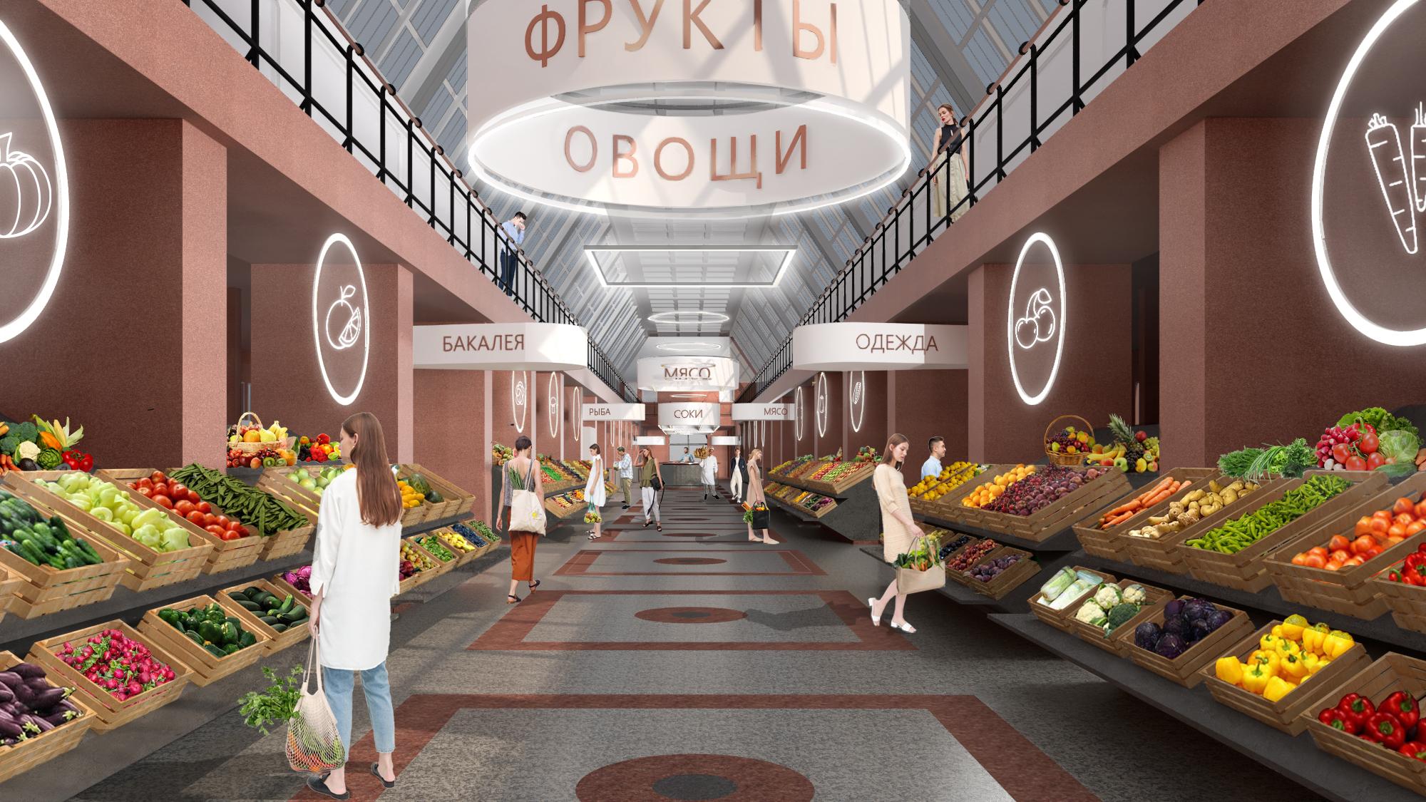 Интерьер историческое здание Сытного рынка