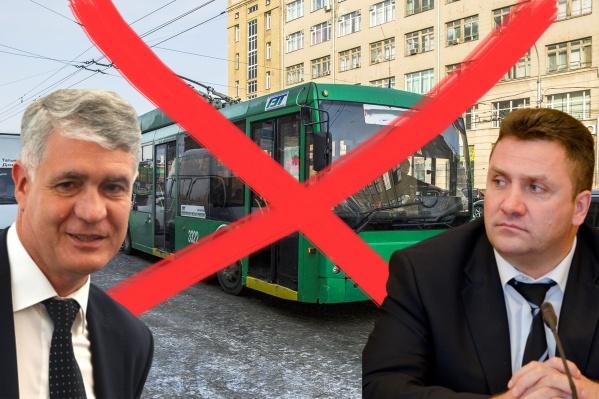 Константин Васильев (слева) недавно стал начальником департамента транспорта мэрии, а сегодня он выслушал жалобу депутата Андрея Гудовского на новосибирские троллейбусы
