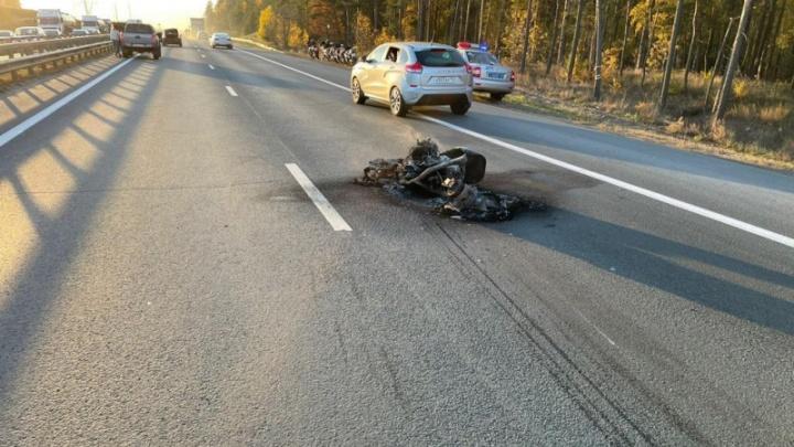 Полицейские объявили розыск свидетелей ДТП со сгоревшим мотоциклом