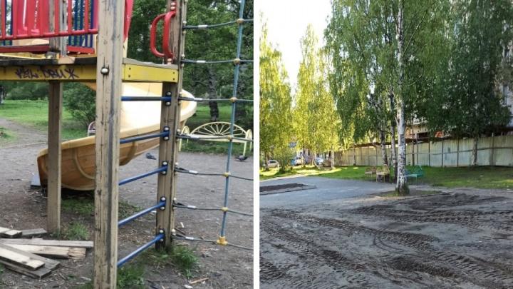 Не прошла проверку прокуратуры: в Архангельске снесли опасную для детей площадку у «Искры»
