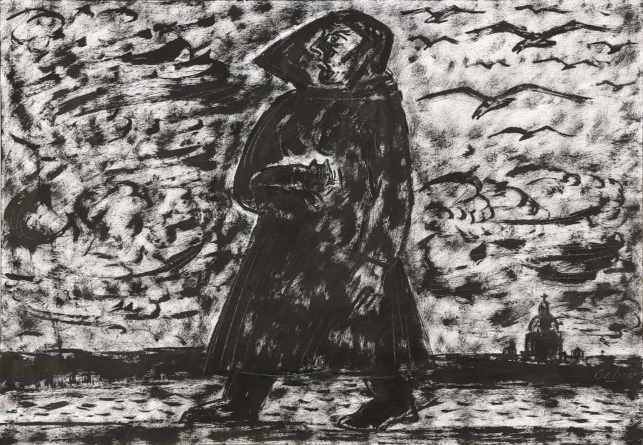 Гафур Мендагалиев. С прогулки. Из серии «Капричос». 2013. Бумага, типографская краска, кисть, процарапывание