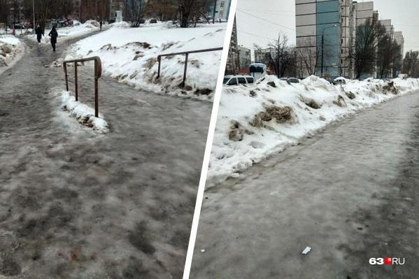 Вот, например, улицы Ново-Садовая и Аминева — настоящий каток