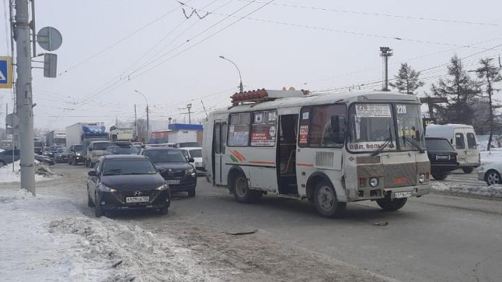В Новосибирске автобус врезался в машины, пропускавшие пешеходов,— ПАЗ отбросило на людей