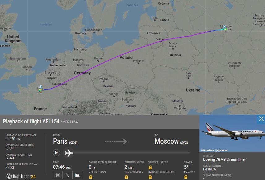 Маршрут рейса Air France Париж — Москва 24 мая 2021 года ещё пролегал над Белоруссией