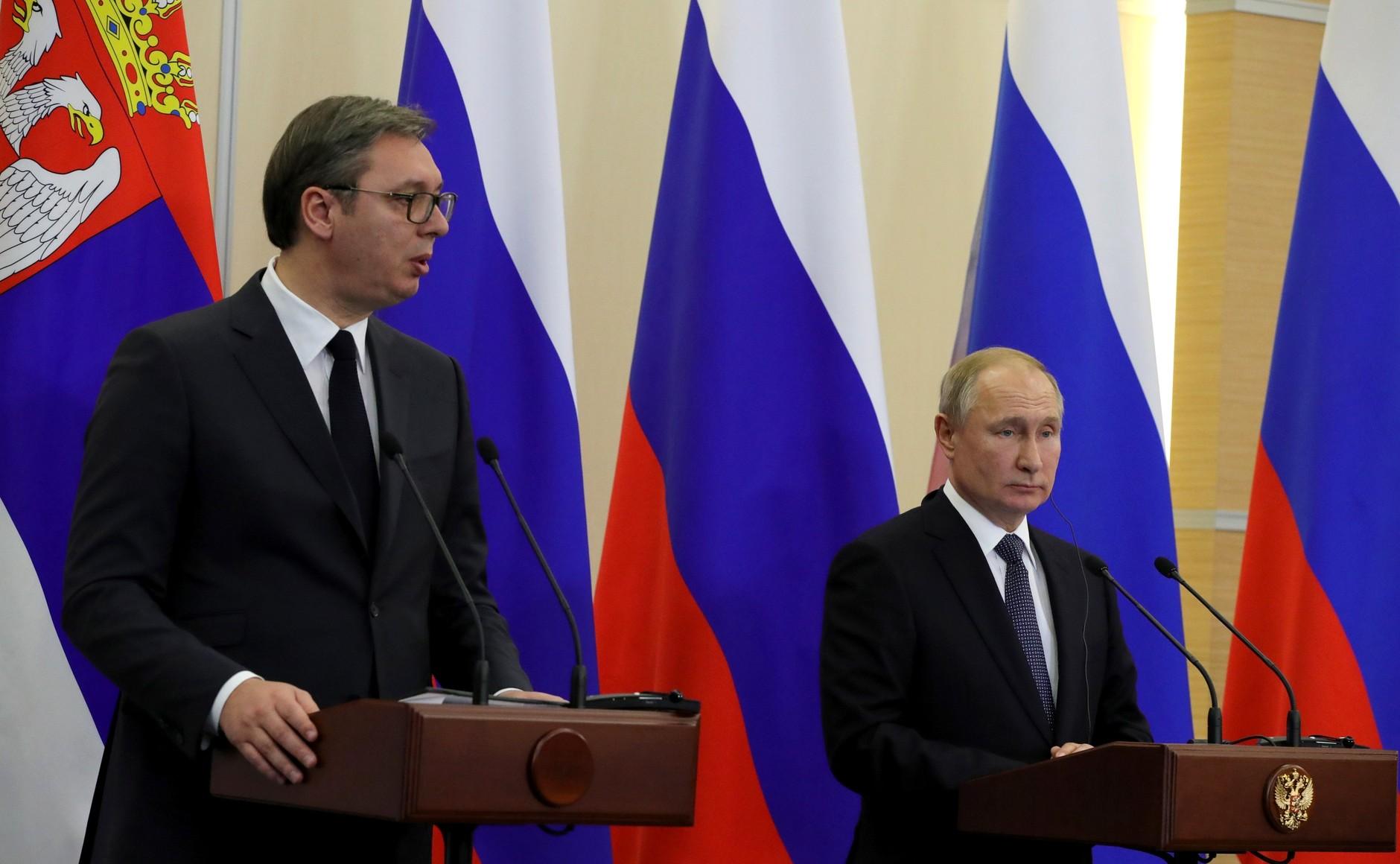 Президент Республики Сербия Александр Вучич с Владимиром Путиным, Сочи, 2019 год