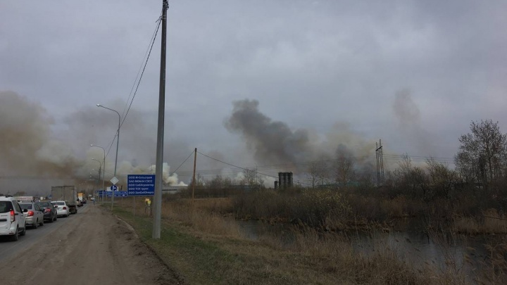 На окраине Тюмени сильно горят поля. Трансляция с места — тут перекрыта дорога, работают полицейские и сотрудники МЧС