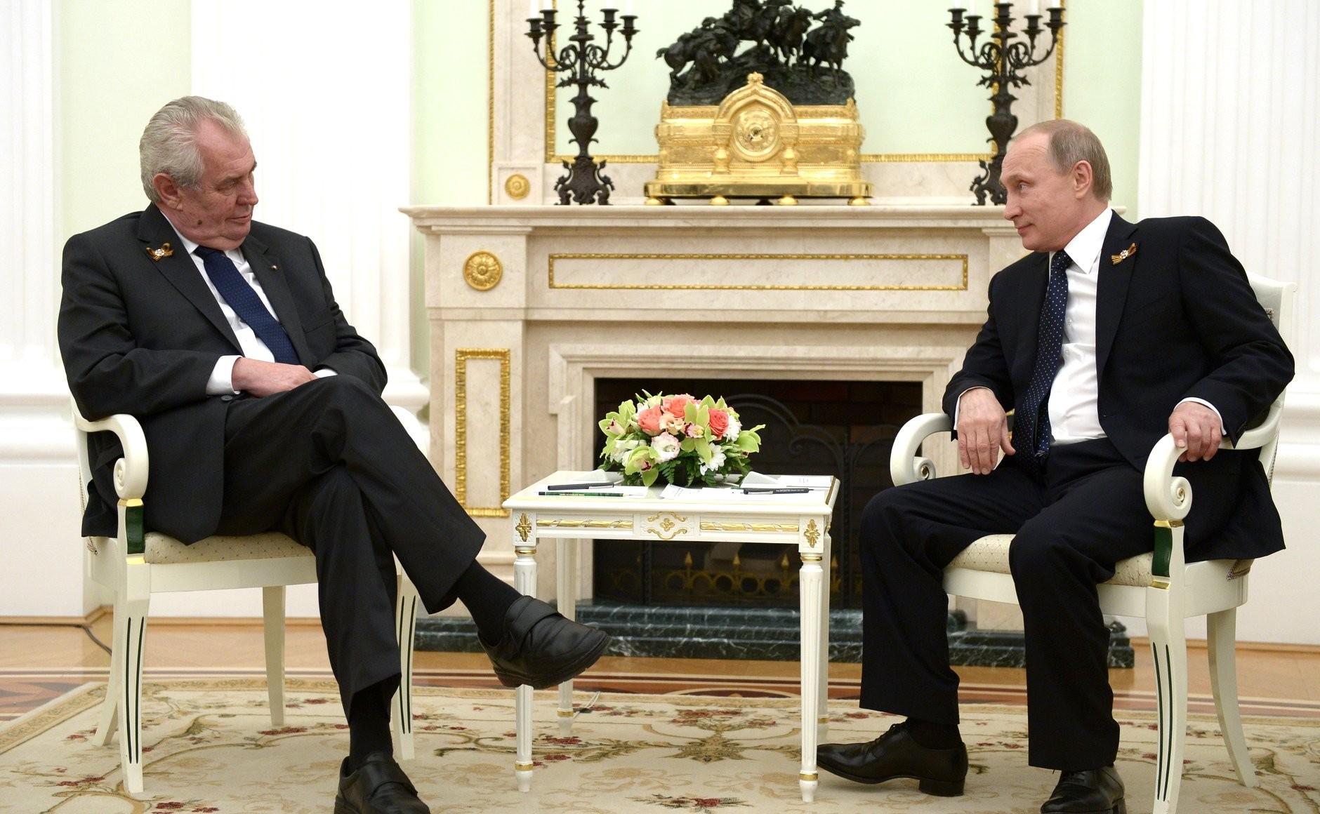 Президент Чехии Земан и Владимир Путин
