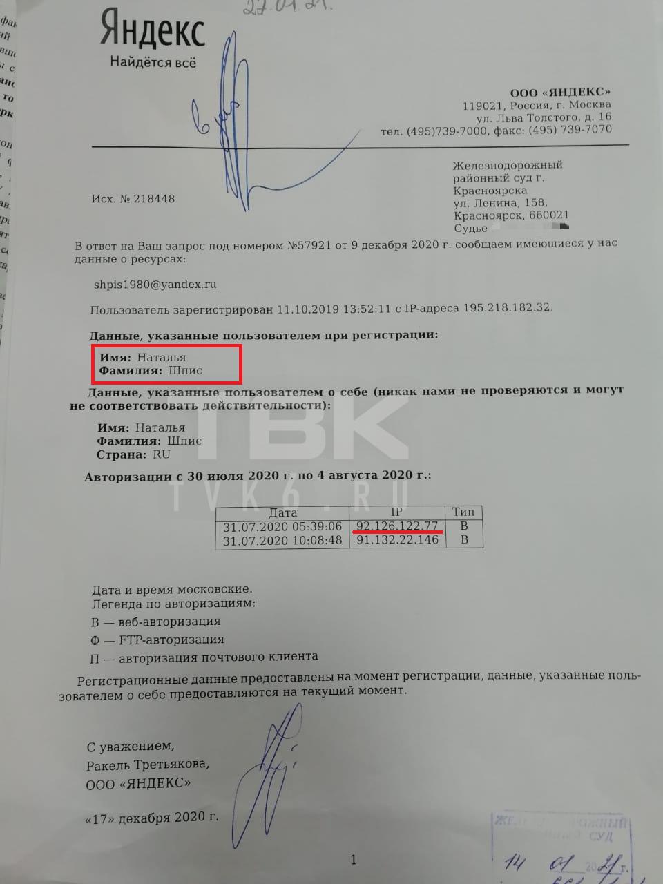 Письмо отправили с выделенного краснымIP-адреса