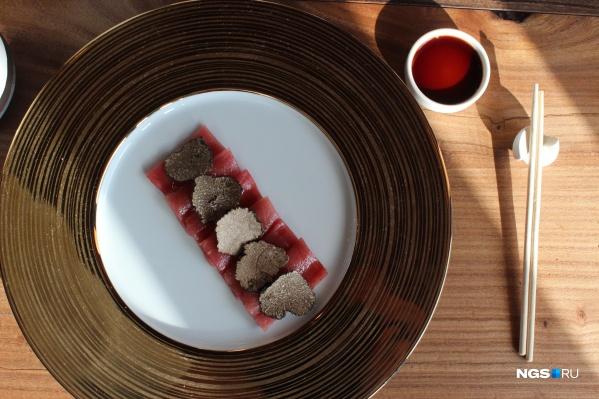 Сашими из тунца с трюфелем за 635 рублей в ресторане «Окабе»