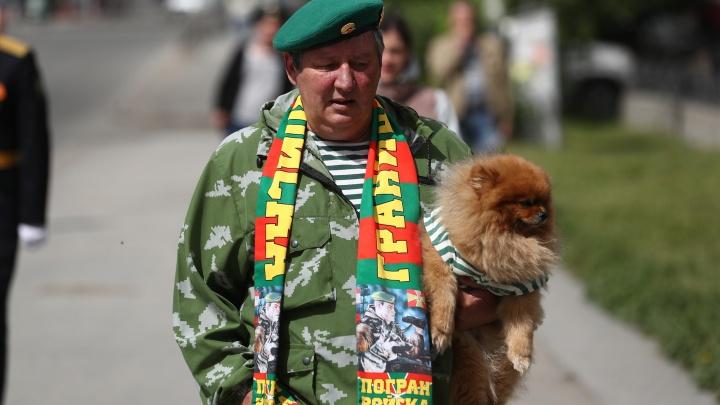 Поездки с флагами и шпиц в тельняшке: как в Новосибирске отмечают День пограничника — 10 кадров