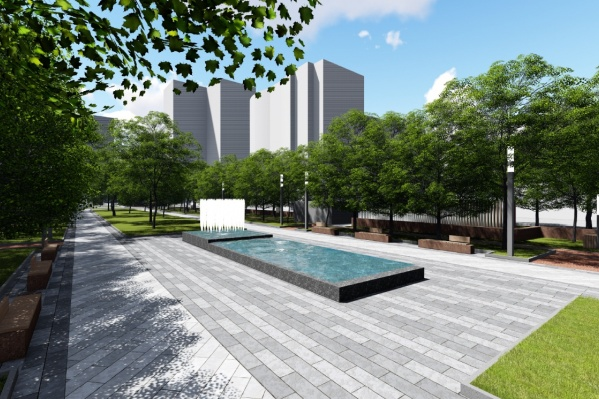 Вот так должен выглядеть сквер после реконструкции — с новыми деревьями и фонтанами